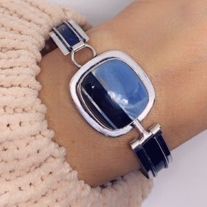Owhyee Blue Opal 925 Sterling Silver Bangle